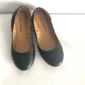 Lucky brand black leather ballet flats EUC